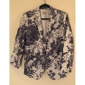 Loft White and Blue Patterned Statement Blazer